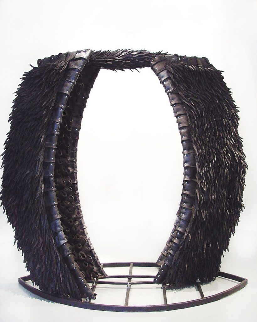 Chakaia Booker, Sugar In My Bowl, 2003. Rubber tires, steel, 95 x 110 x 57 3/4 in. Collection of the artist. Courtesy Mark Borghi, New York, Bridgehampton, Sag Harbor.