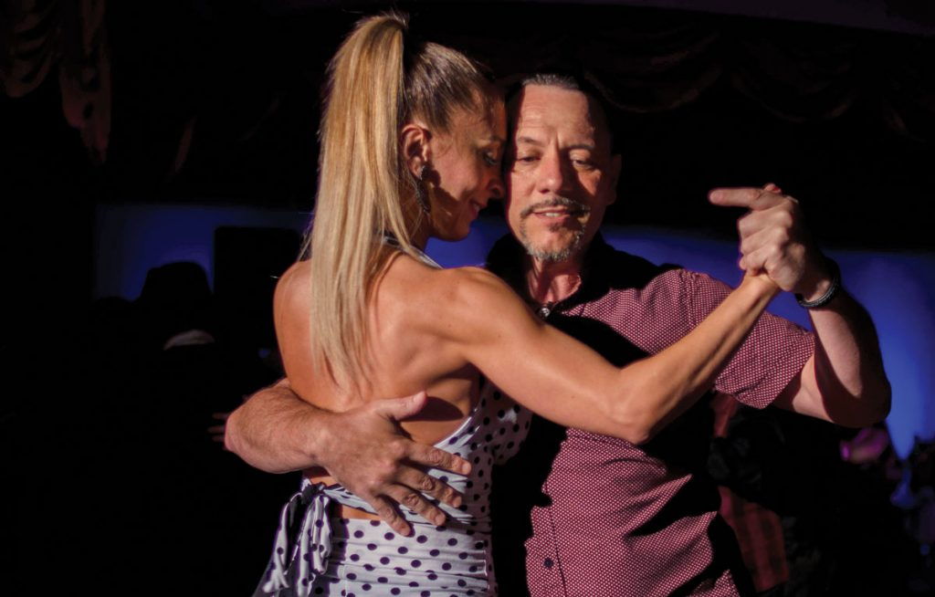 Diego Santana with his partner at the 2020 Miami Tango Sunshine Festival. Photo by Dipesh Pradhan