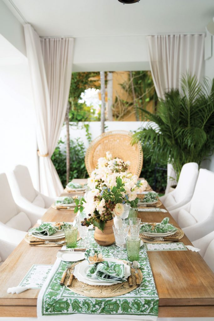 The couple hosted a breakfast party at their Miami Beach home, complete with an organic-inspired tablescape rich in natural materials and shades of green.