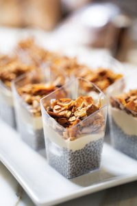 The meal began with passed hors d'oeuvres, including chia seed parfaits with granola