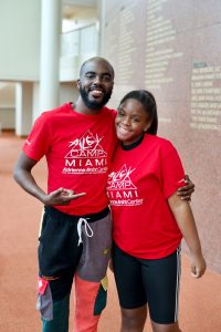 AileyCamp Miami Instructor Treyon Sargent and returning AileyCamper Amonti Pipkin - Photo by Justin Namon, ra-haus