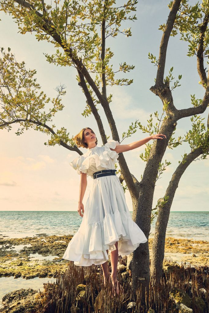 Alexander McQueen dress, double belt, photo by Gabor Jurina