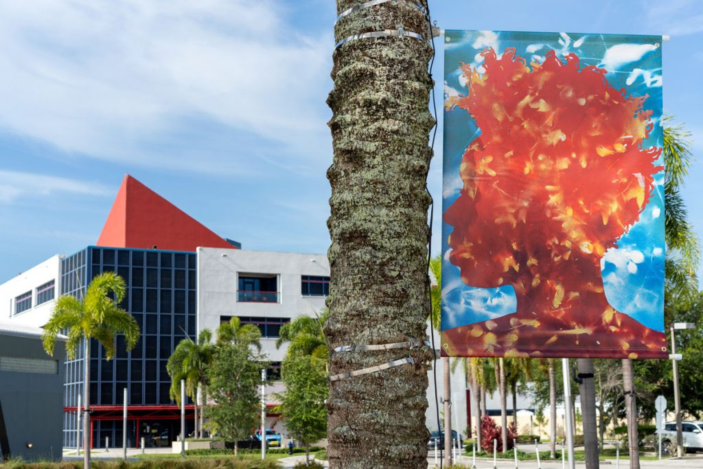 Exteriors banners of the collaborative collages. Photo by Zachary Balber Photography