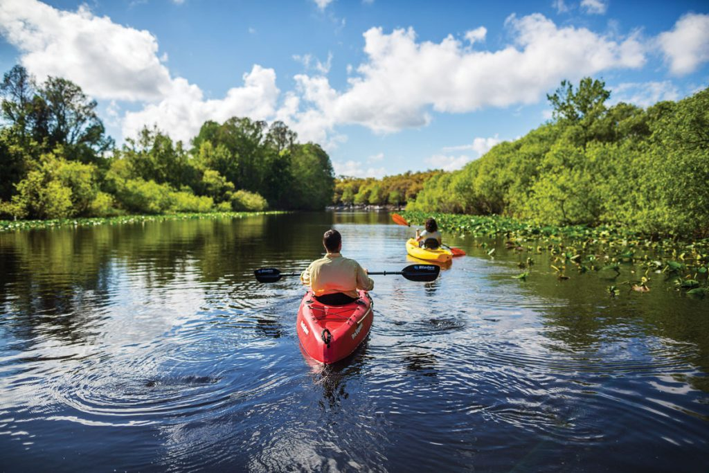 Rent a kayak or canoe and navigate pristine waters of Lake Kissimmee, near Lake Wales. Multiple waterways are available and provide spectacular views of wildlife and unique Florida ecosystems, including the 10-mile Buster Island Paddling Trail.