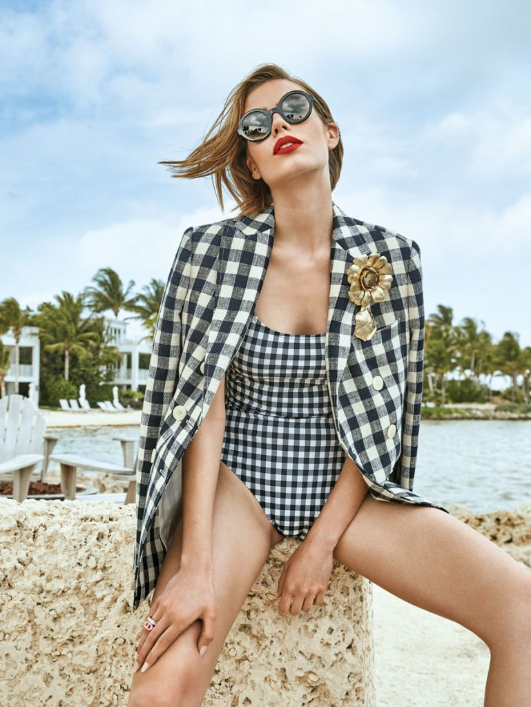 Tory Burch gingham blazer, printed tank suit; Gucci floral brooch; Dior CD ring; Chanel sunglasses, photo by Gabor Jurina