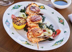 scallop and prawn skewer at Osteria Morini