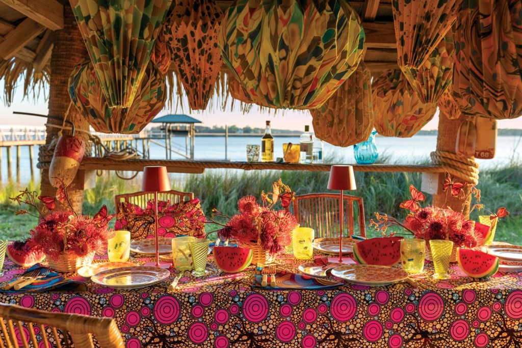 Ankara tabletop decor and linens ($38-$218), Houses & Parties by Rebecca Gardner, photo by Adam Kuehl Photography