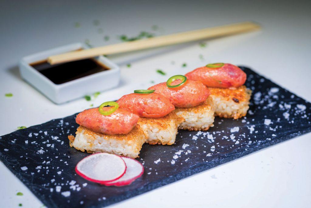 Spicy Tuna Crispy Rice at Katsuya South Beach