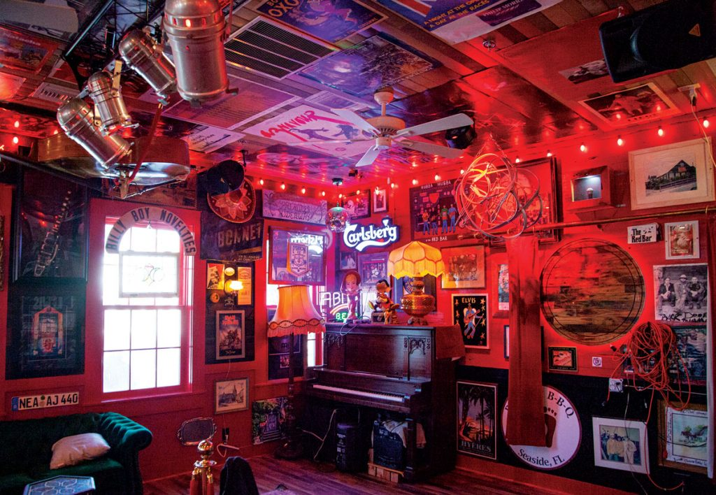 Eclectic and funky, The Red Bar (left) is a hot spot for drinks and live music. the Red Bar Jazz Band plays almost nightly, photo courtesy of Visit South Walton