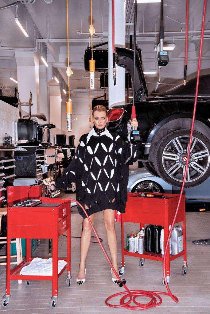 Valentino turtle- neck, shirt, knit pull, skort, pumps Photo by Navid
